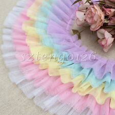 1M 2-Layer Gathered Pleated Lace Edge Trim Tulle Mesh Ribbon Organza Sewing DIY
