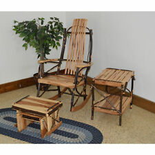 A&L FURNITURE CO. Hickory Rocking Chair With Gliding Ottoman and End Table Set