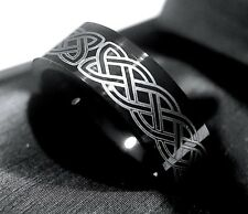 Celtic Ring, Mens Women Black Tungsten Celtic Wedding Bands, His and Hers Rings