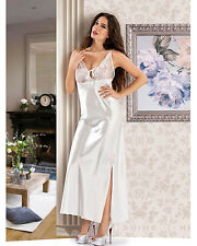 White Full-Length Satin Nightdress with Sheer lace bra top