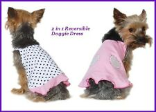 NEW DOGO 2 IN 1 REVERSIBLE PINK RHINESTONE POLKA DOT DOG PET SUMMER DRESS   M L