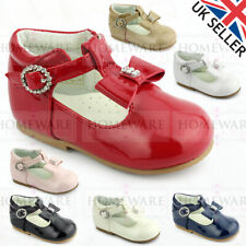 BABY GIRLS SPANISH STYLE SHOES T-BAR BOW DIAMANTE PINK WHITE CAMEL RED BLACK
