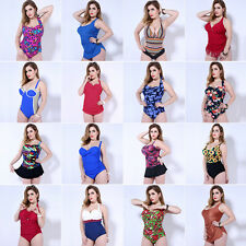 Women One Piece Plus Size Swimwear Swimsuit Push-Up Bikini Swim Dress Vintage