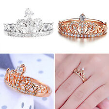 Elegant Girls Jewelry Princess Environmental Copper Crown AAA Zircon Finger Ring