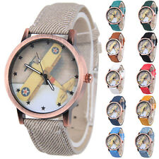 Unisex Canvas 1Pcs Wrist Watch Femmes Quartz Retro Analog Stars Airplane Watch