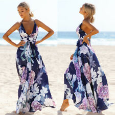 NW Women Summer Vintage Boho Long Maxi Evening Party Beach Dress Floral Sundress