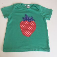 NEW ex Mini Boden Baby Girls Applique Green Strawberry Top Age 12 18 24 Months