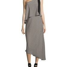 HALSTON HERITAGE WOMENS STRIPED ONE-SHOULDER ASYMMETRIC COCKTAIL DRESS