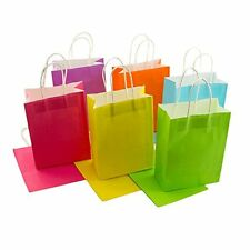Craft Paper Gift Bags Solid Matte Colors Birthday Party Bags w/ Handles