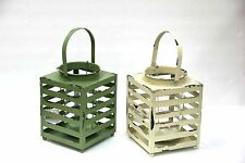 Rustic Metal Square Lantern W/Handle and Glass Candle Holder Patio Accent Decor