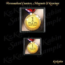 NUMBER 1  DAD Medal Drinks Coaster or Fridge Magnet Birthday Fathers Day Gift
