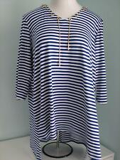 NWT Thomas & Olivia V Neck Knit Long Tunic Top Nautical Stripe Plus Size  1X 2X