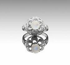 925 Sterling Silver Ring with Natural Round Cut Rainbow Moonstone Gemstone eBay