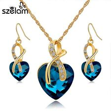 Jewelry Set Crystal Heart Necklace Earrings Sets Bridal Wedding Accessories Gold