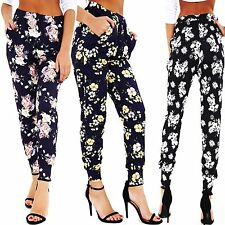 New Ladies Ali Baba Harem Floral Print Cuffed Ankle Mid Rise TRS Pants Trousers