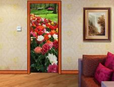 Garden Flowers DOOR WRAP Decal Sticker Wall Mural Personalized ANY NAME D50