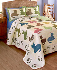 Queen or King Bedding Cat Quilt Set Quilted Comforter Kitty Reversible Bedspread