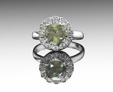 925 Sterling Silver Ring with Round Green Tourmaline Natural Gemstone Handmade.