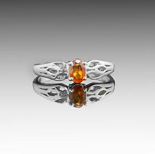 925 Sterling Silver Ring with Natural Oval Cut Yellow Citrine Gemstone Handmade.