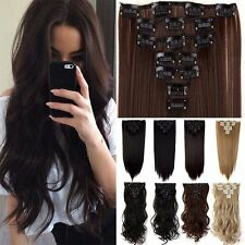 US SELLER 8 Pcs 18 Clips Full Head Clip In Hair Extension Double Thick hairpiece
