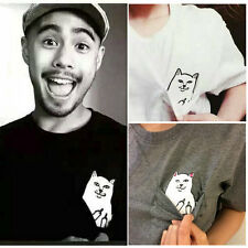 The New Personality Men Women Funny Pocket Cat Cute Couples T-Shirt Tops Blouses