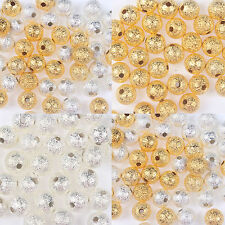 4/6/8/10mm Acrylic STARDUST Metallic Glitter BEADS Gold/Silver&A reel of cord