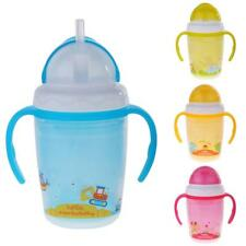 Baby Infant Kid Straw BPA Free Sippy Cup Learning Drinking Handle Bottle 4Colors