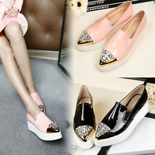 Rhinestone Womens Slip On Flat Heel Shoes Loafers Fashion Sneakers Shoes Wedge
