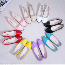 NEW WOMEN ROUND TOE FLATS SLIP ON CASUAL LEATHER SHOES BALLET SHOES FLATS 3-6.5