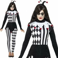 Adult Ladies Dark Jester Harlequin Clown Halloween Circus Fancy Dress Costume