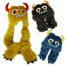 Boys Girls Kids Furry Monster Hat Scarf And Mitten - 4 Colours