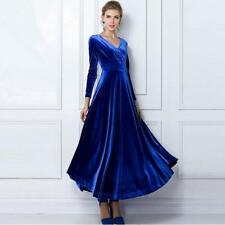 Women Party Evening Long Sleeve Slim Fit Gorgeous V Neck Chic velvet dress Gown