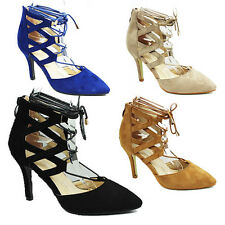 WOMENS LADIES CUT OUT HIGH STILETTO HEEL TIE UP COURT SHOES SANDALS SIZE 3-8