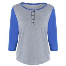 Women Summer Autumn Tunic Shirts Long 3/4 Sleeve Casual Fitted Blouse Tops