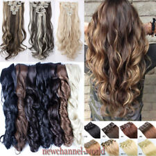 Full Head Remy Long 8 Pieces Clip In On Hair Extensions Real Thick Hairpiece N82