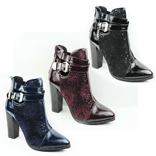 WOMENS LADIES CASUAL BUCKLE FASHION HIGH BLOCK HEEL ANKLE BOOTS SHOES SIZE 3-8