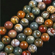 Wholesale !!! 4-6-8-10MM PICASSO JASPER STONE ROUND BALL LOOSE BEAD 15''