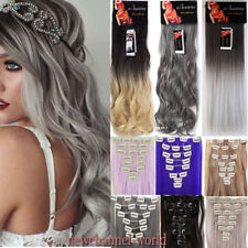 Real Natural Clip in Hair Extensions 8 Pieces Full Head Hairpiece Long Thick NEW