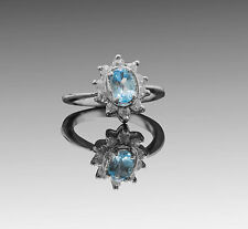 925 Sterling Silver ring with Oval Sky Blue Topaz Natural Gemstone Handmade eBay