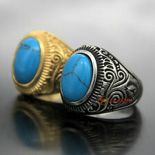 Large Natural Oval Blue Turquoise Gemstone Silver/Gold Stainless Steel Ring