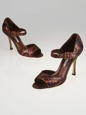 NEW MANOLO BLAHNIK Bronze Sequin Animal Print CALDO Mary Jane Sandals SHOES 40