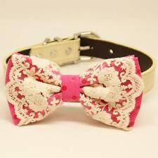 Hot Pink Polka Dot Dog Lace Bow Tie Collar Pet Puppy Handmade Wedding Accessory