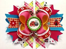 """Back To School Ladybug,Butterfly Handmade Boutique Hair Bow W5.5"""" x L5.0"""" xH2.0"""""""
