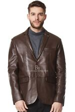 New Men's stylish Real Leather Brown Blazer Jacket Milano 2 button Classic Coat