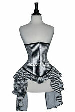 Black White Satin Under Bust Corset Real Steel Bones Lace up Front Busk 2XS~7XL