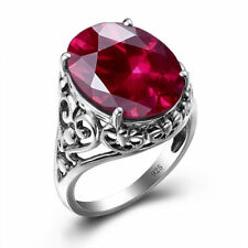 Solid 925 Sterling Silver Ruby Ring Red Gemstone Rings Jewelry Gift  for Women