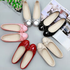 Womens Ballet Flats Patent Leahter Classic Bow Ballerina Slippers Flats Oxfords