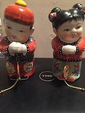 VINTAGE ASIAN CHINESE FIGURINE PAIR LUCKY BOY GIRL PROSPERITY FENG SHUI CHILDREN