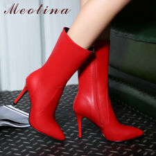 Women Genuine Leather Mid-Calf Boots Pointed Toe High Heels Zip Stiletto Shoes