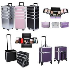 Pro 4 in 1 Aluminum Rolling Makeup Case Storage Cosmetic Train Box Trolley Case